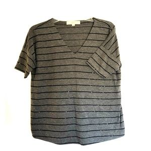 Dark grey with black sequin stripped top.